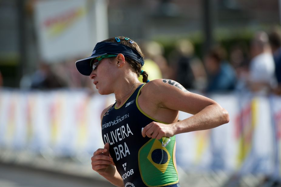 Pamela Oliveira, the brasilian contestant in the ITU games in Stockholm 2013. Here passing in the...