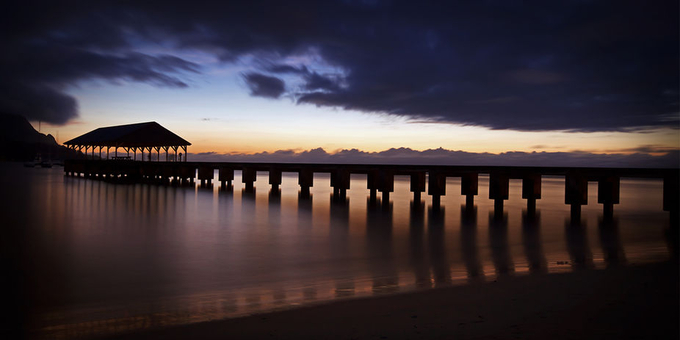 Hanalei Pier at Dusk by msmith_az - Rule Of Seconds Photo Contest vol1