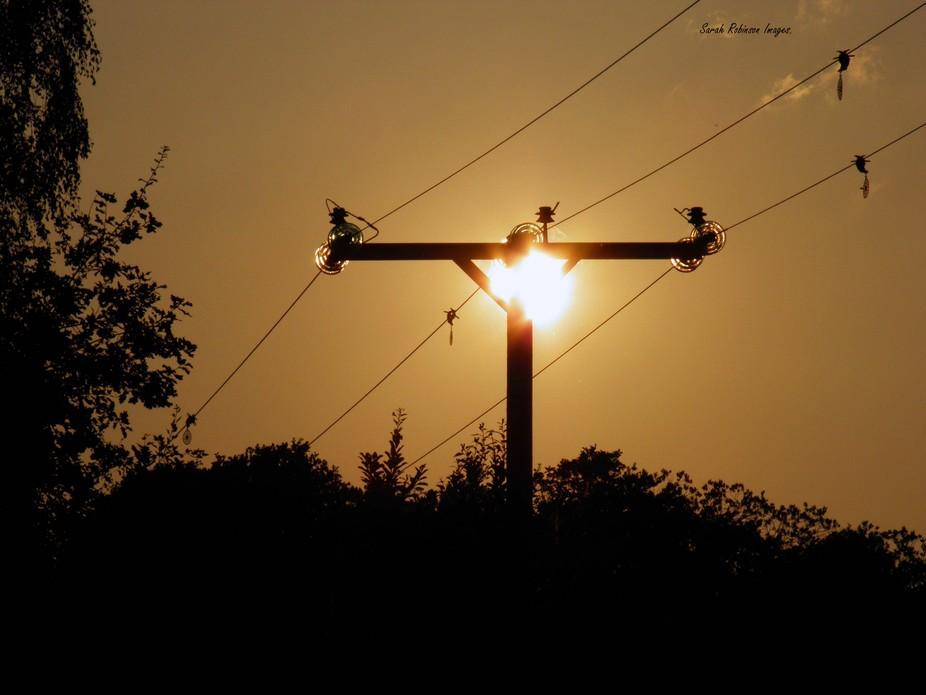 Sunset over Hazelwood park, Dawlish Warren, Devon.