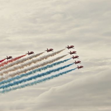 A formation of Red Arrows at Rhyl Airshow 2013