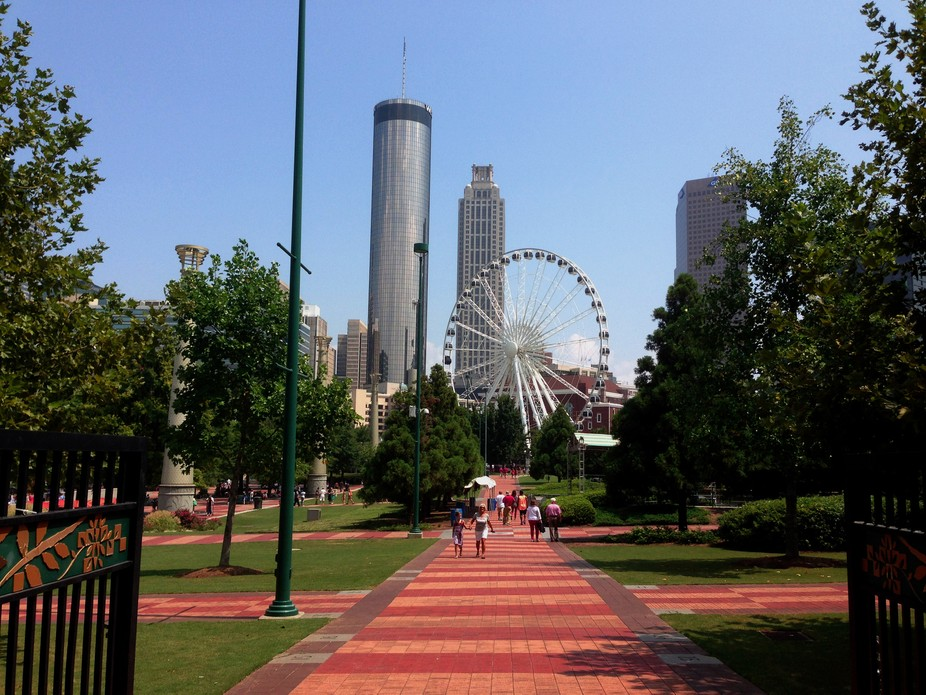 Taken August 31, 2013 from entrance to park across from CNN Center, and it includes the new, gian...