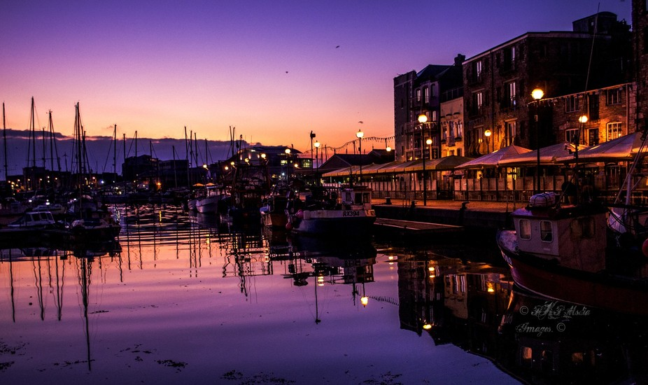 Early morning shot of the Plymouth Barbican as the the sun is coming up