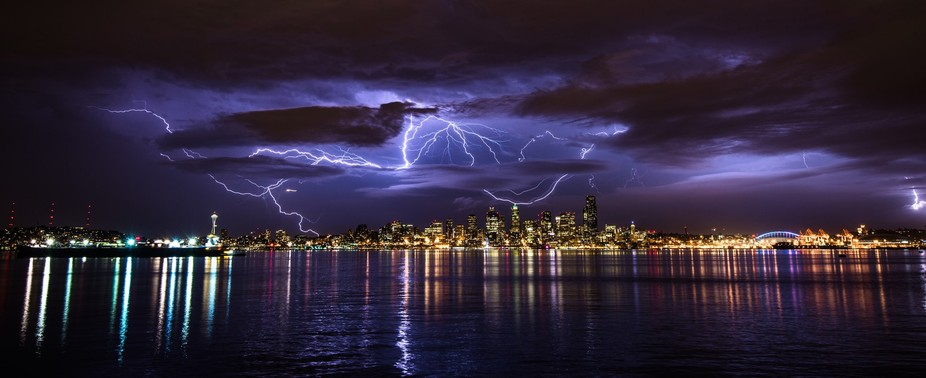 Story behind the photo: Thunderstorms in Seattle are very rare (happens maybe a few times a year ...