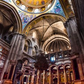 Amazing Church of the Holy Sepulcher in Jerusalem and its beautiful interior elements. 2013