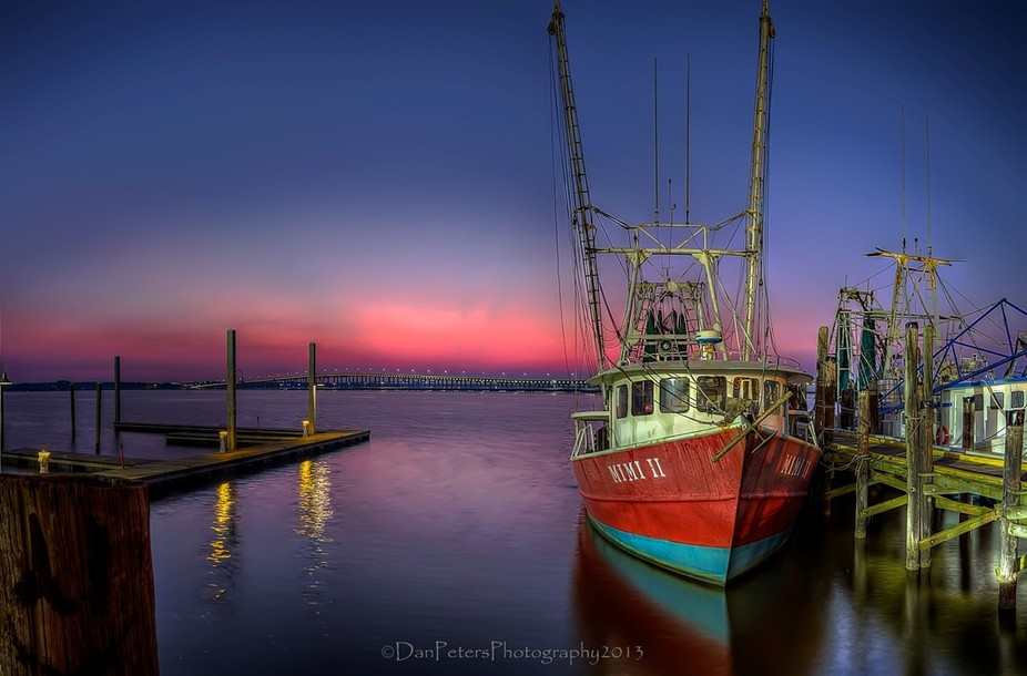 A September Sunrise In Biloxi Mississippi  Two, three shot HDR\'s spaced 2 stops apart processed i...