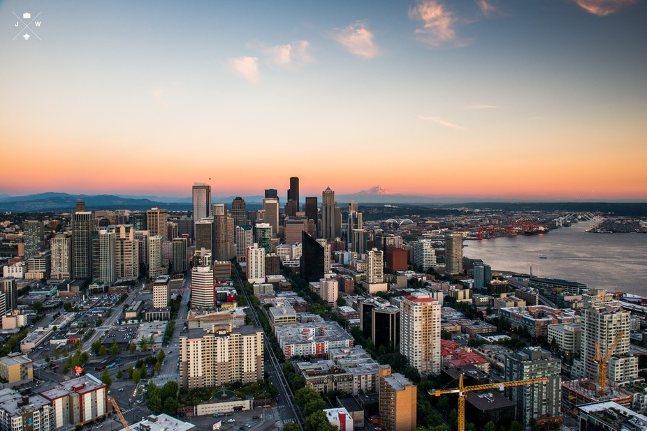 I took this from the Space Needle\'s observation deck at sunset. This was my first trip up the nee...