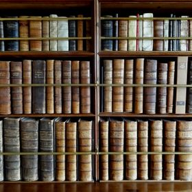 A study of books in the library at Lanhydrock in Cornwall