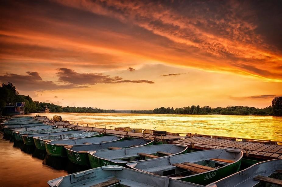 Sunset, Dnipro river, Ukraine.