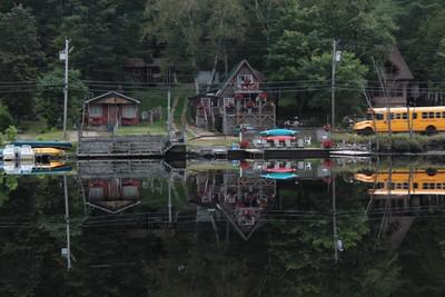 reflective lake flower, Saranac Lake NY