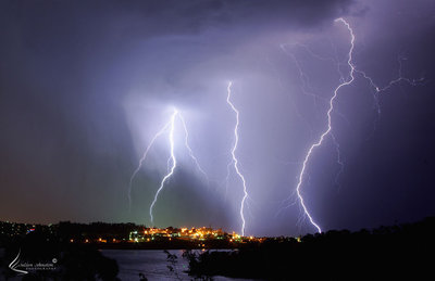 Lightning over Hobart, Tasmania