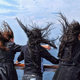 It was so windy on deck as we cruised the Greek islands!