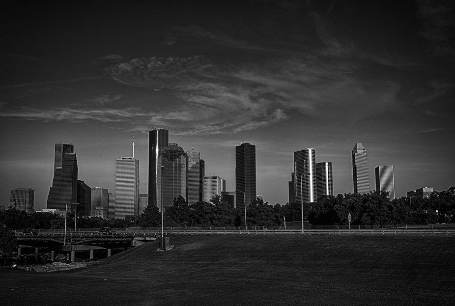 BW HDR wide angle of Houston skyline