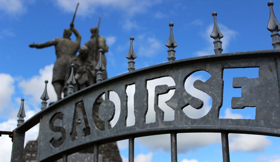 Soldier Memorial at Roscommon Ireland - Gate sign \'Saoirse\' means \'freedom\' in Gaelic.