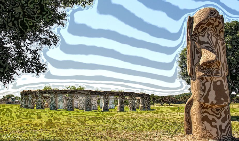 Stonehenge II meets Easter Island, located in Ingram, Texas.  Lot of Digital darkroom work.
