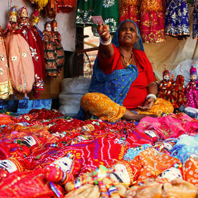 A Rajasthani woman selling traditional handicrafts, such as dolls and small drums, at a market in New Delhi. Taken with a Canon EOS 600D and an 1...