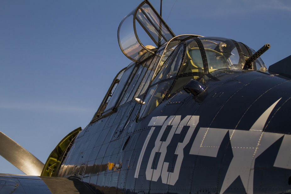 A TBM-3 Avenger on the ramp during the 2013 Memphis Air Show.  Although very slow, the beauty of ...