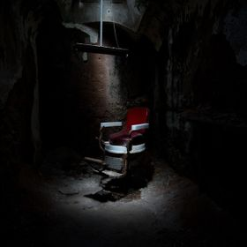 Eastern State Penitentiary-Philadelphia Pennsylvania  The Mad Chair - called so due to the fact many inmates had gone mad before the punishment w...