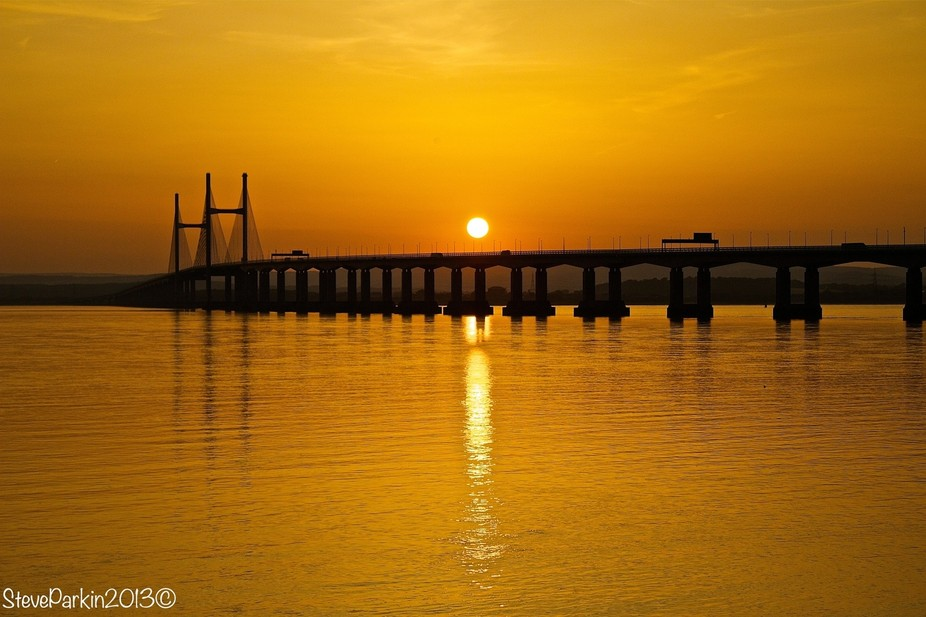 Sun setting over the Severn Bridge