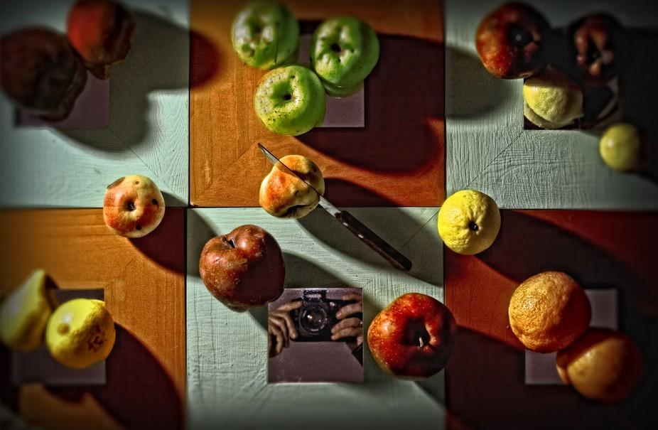 portrait between the fruits