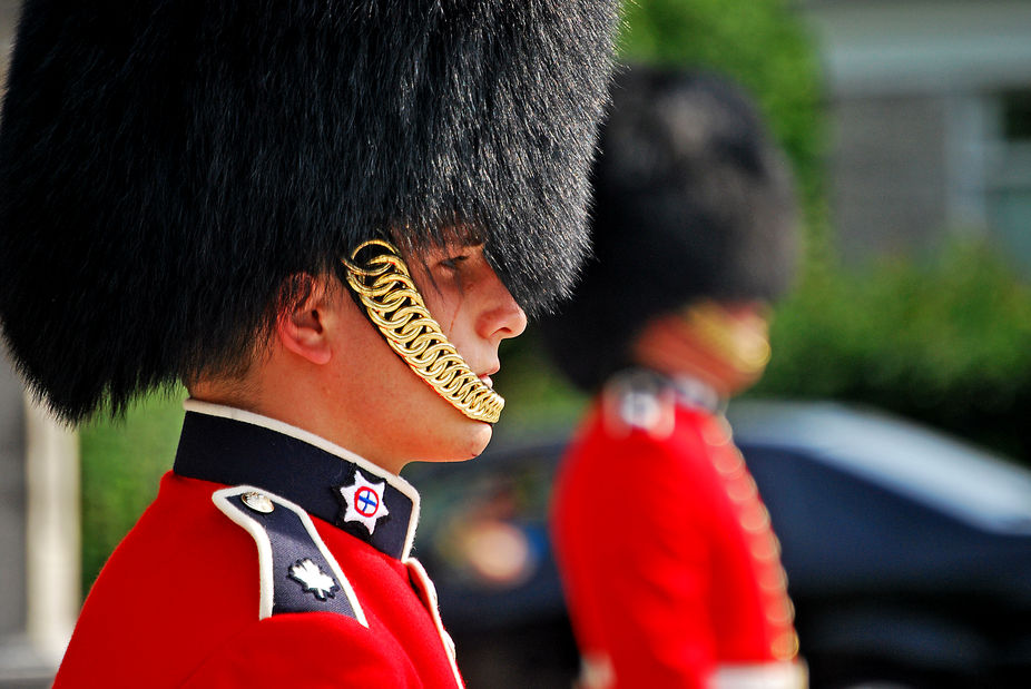 Rideau Hall has guards who are virtually identical in appearance to those at Buckingham Palace. H...