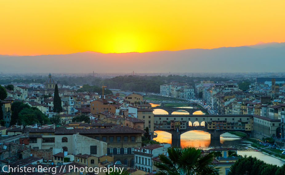 Sunset over Ponte Veccio, Florence, Italy