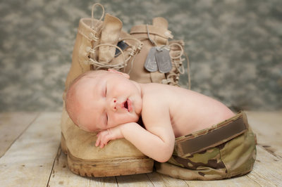 Sleeping Baby on Army Boot