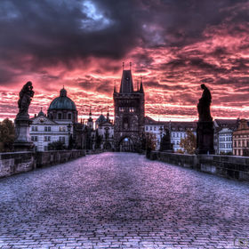sunrise in Prague - Charles bridge