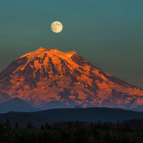Full moon over Mt. Rainier