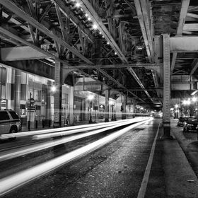 Long exposure underneath the elevated train in downtown Chicago.