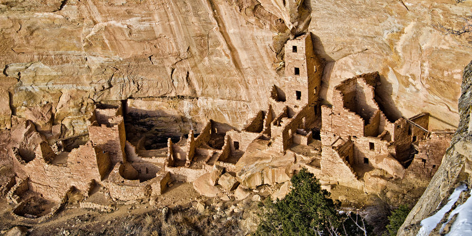 Cliff dwellings in Mesa Verde National Park. View this in full screen if possible. The detail is ...