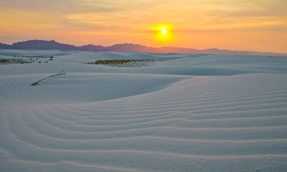 Sunset as seen from White Sands National Monument in New Mexico.