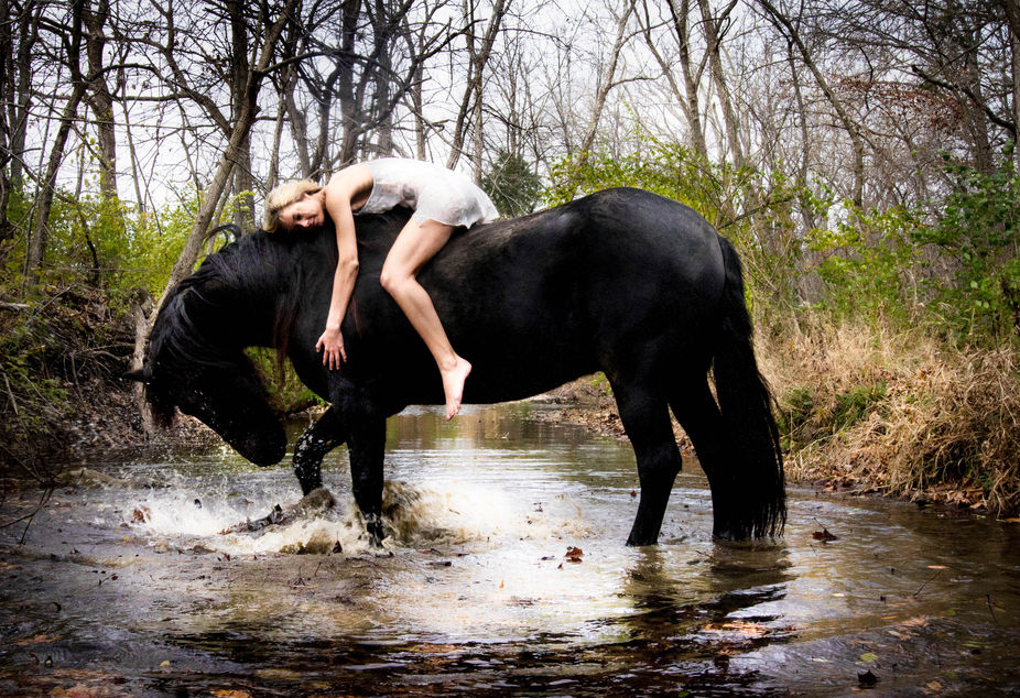 From my Tomorrowland Series   Model Mary Costello with horse Zeus