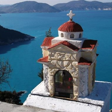 Shrine overlooks the Ionian Sea. Cephalonia, Greece.