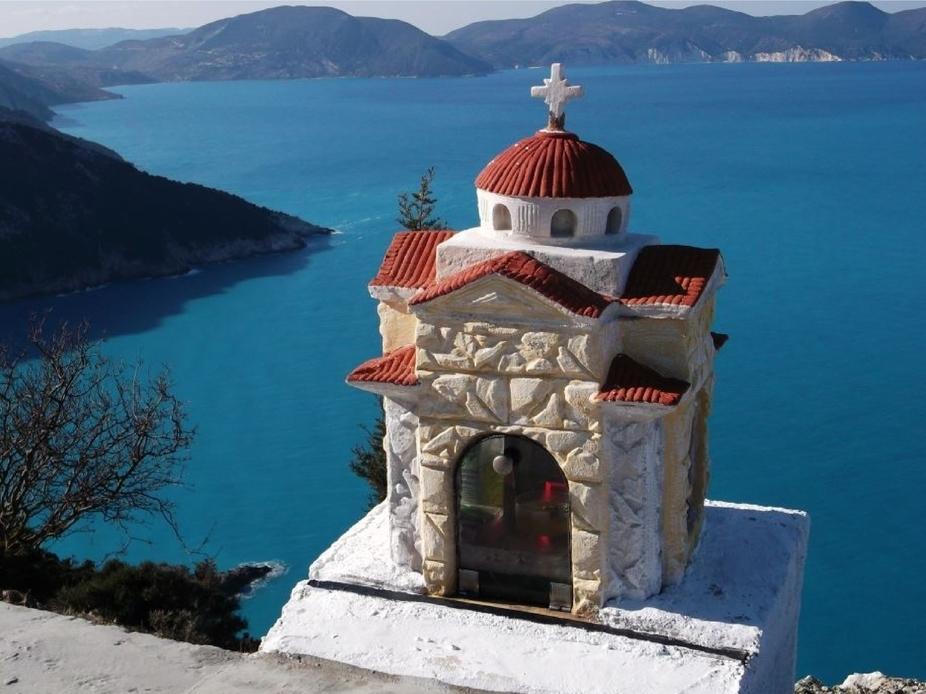Shrine overlooks the Ionian Sea. Cephalonia, Greece.