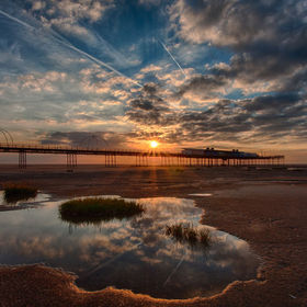 Southport Pier caught during a stunning sunset.