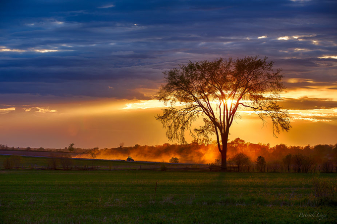 Dusty Tractor Sunset by pjleger - A Lonely Tree Photo Contest