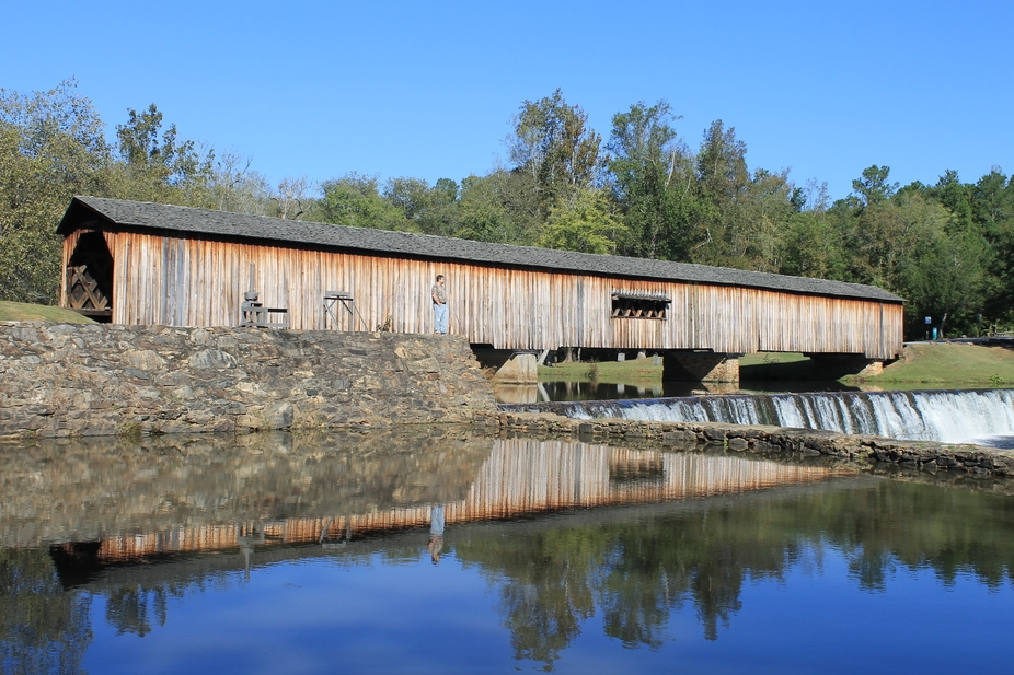 Looking over the dam at Watson Mill Bridge!