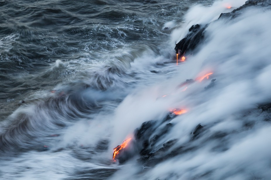 Lava ocean entry point in Kalapana, HI.