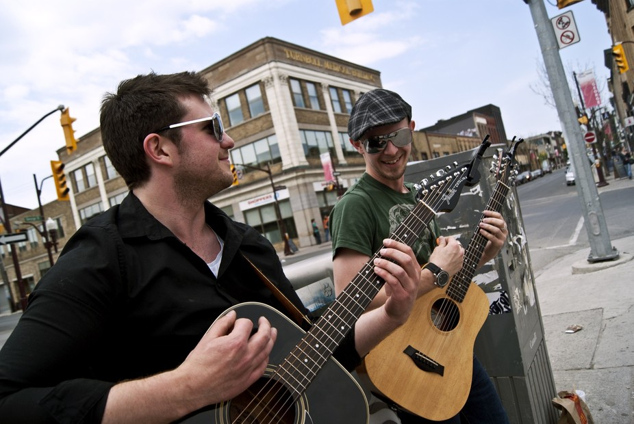 Two street musicians who were pretty good in Peterborough, Ontario