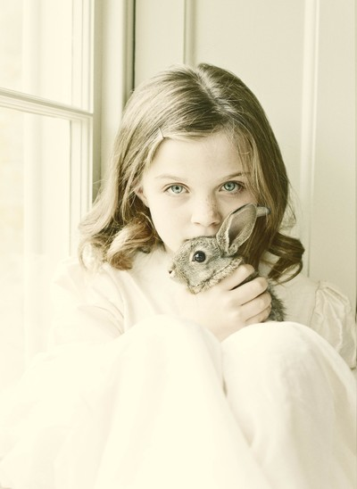 Child portrait with rabbit