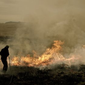 Controlled heather burning on a grouse moor - After breaking my leg and spending 6 months in cast, this was the first photo I took when I was bac...