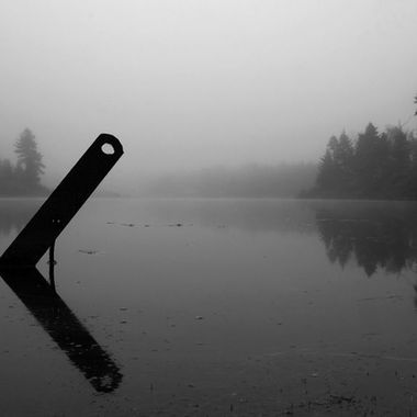 A metal bar sticking out of a calm pond on a foggy morning.