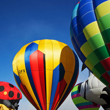 A group of colourful hot air balloons.
