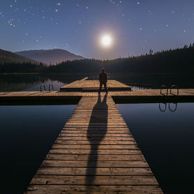 I just got back from a great weekend up in Whistler.  I took this photo Friday night at Lost Lake.  The moon was two thirds full but it was total...