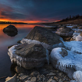 Bismarck, ND On the Missouri River, north of Bismarck.  The river dropped over a foot over night to create the great ice                        A...