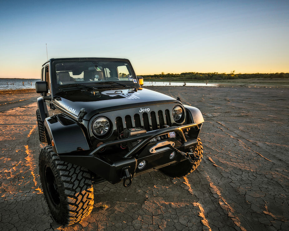 Jeep on lake bed