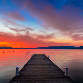 Beautiful evening sunset at Lake Tahoe, California.