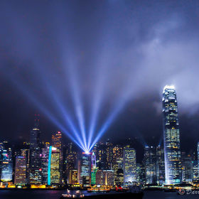 spectacular beam of the night @ Avenue of Stars, HongKong