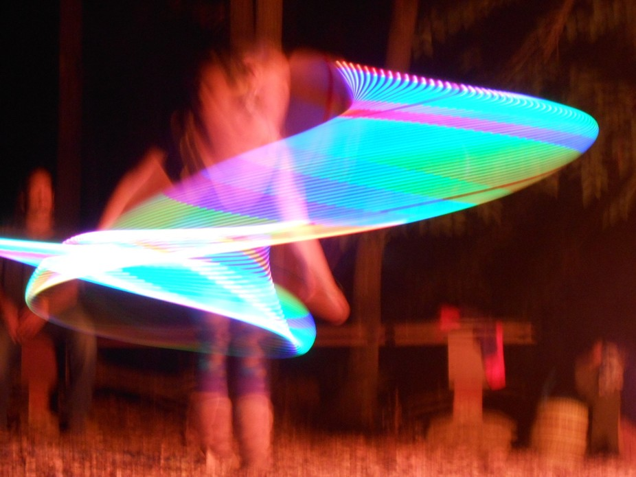 Slow shutter of a lighted hula hoop. Fall Down festival in Durham CT. September 2013