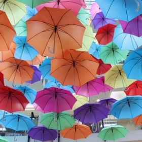 There have been various items, suspended from the ceiling in Australia on Collins. These umbrellas were definitely the most colourful.